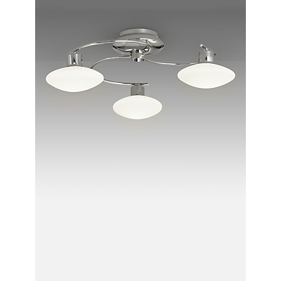 John Lewis Tameo 3 Arm LED Ceiling Light, Chrome/Opal
