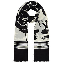 Buy John Lewis Placement Flower Scarf, Black/White Online at johnlewis.com