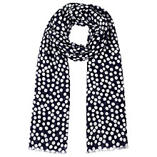 Buy John Lewis Spot Print Scarf, Navy Online at johnlewis.com