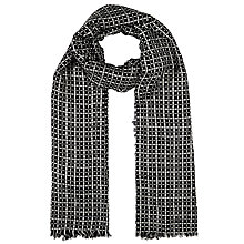 Buy John Lewis Woven Check Dot Scarf, Black Online at johnlewis.com