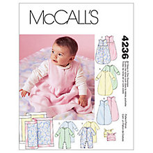 Buy McCall's Baby Sleep Bag, Rompers, Hat and Blanket Sewing Pattern, 4236, One Size Online at johnlewis.com