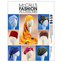 Buy McCall's Women's Turban, Headwrap and Hat Sewing Pattern, 4116, One Size Online at johnlewis.com