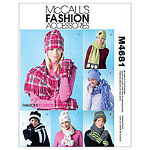 Buy McCall's Unisex Scarves Hats & Mittens Sewing Pattern, 4681 Online at johnlewis.com