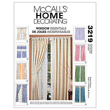 Buy McCall's Pinch Pleat and Tab Curtains Sewing Pattern, 3219, One Size Online at johnlewis.com