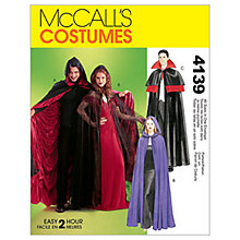 Buy McCall's Lined or Unlined Cape Costume Sewing Pattern, 4139, One Size Online at johnlewis.com