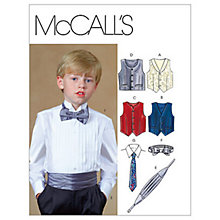 Buy McCall's Boys' Lined Waistcoat, Cummerbund, Bow Tie and Necktie Sewing Pattern,4290 Online at johnlewis.com