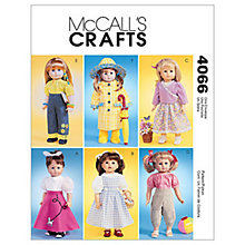 "Buy McCall's 18"" Doll Clothes Sewing Pattern, 4066, One Size Online at johnlewis.com"