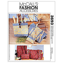 Buy McCall's Duffle Bags, Make-Up Case, Tote Bag and Eyeglass Case Sewing Pattern, 3693, One Size Online at johnlewis.com