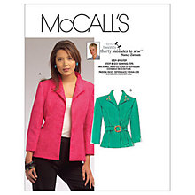 Buy McCall's Women's Tailored Cropped Sleeve Jacket Sewing Pattern, 5668 Online at johnlewis.com