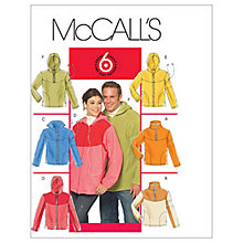 Buy McCall's Men's and Women's Sweatshirt and Hooded Jacket Sewing Pattern, 5538 Online at johnlewis.com
