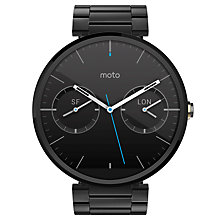 Buy Motorola Moto 360 Metal Smartwatch, Android Wear, Dark Chrome Case and Stainless Steel Band Online at johnlewis.com