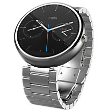 Buy Motorola Moto 360 Metal Smartwatch, Android Wear, Light Chrome Case and Stainless Steel Band Online at johnlewis.com