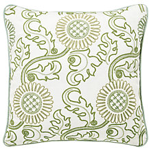 Buy Morris & Co Strawberry Thief Cushion, Green Online at johnlewis.com