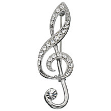 Buy John Lewis Musical Treble Clef Brooch, Silver Online at johnlewis.com