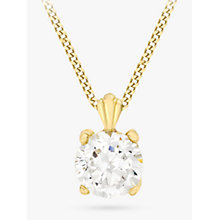 Buy IBB 9ct Gold Cubic Zirconia Pendant Necklace, Gold Online at johnlewis.com