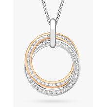 Buy IBB 9ct Gold Cubic Zirconia Double Ring Pendant Necklace, White Gold/Rose Gold Online at johnlewis.com
