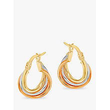 Buy IBB 9ct Gold Three Colour Hoop Earrings, Multi Online at johnlewis.com