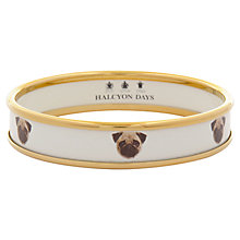 Buy Halcyon Days 18ct Gold Plated Enamel Pug Dog Bangle, Medium, Cream Online at johnlewis.com