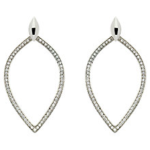 Buy Melissa Odabash Rhodium Plated Crystal Open Teardrop Earrings, Silver Online at johnlewis.com