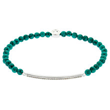 Buy Melissa Odabash Rhodium Plated Turquoise Crystal Bar Bracelet, Silver Online at johnlewis.com