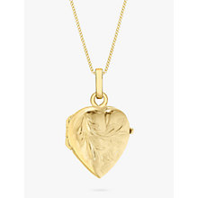 Buy John Lewis 9ct Gold Flower Heart Locket Pendant Necklace, Gold Online at johnlewis.com