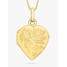 Buy IBB 9ct Gold Flower Heart Locket Pendant Necklace, Gold Online at johnlewis.com