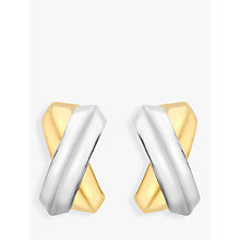 Buy IBB 9ct Gold Crossover Kiss Stud Earrings, Gold Online at johnlewis.com