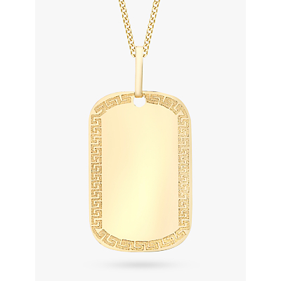 IBB 9ct Yellow Gold Grecian Dog Tag Pendant Gold