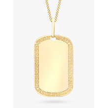 Buy IBB 9ct Gold Grecian Dog Tag Necklace, Gold Online at johnlewis.com
