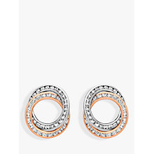 Buy IBB 9ct Gold Plated Stud Earrings, White/Rose Gold Online at johnlewis.com