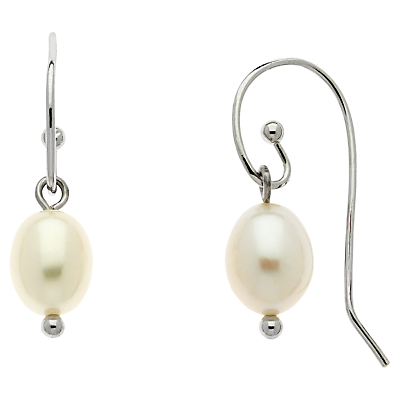 Finesse Freshwater Pearl Drop Earrings, Silver