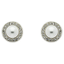 Buy Finesse Pearl Swarovski Crystal Stud Earrings, White/Silver Online at johnlewis.com
