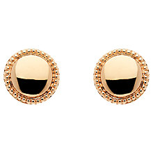 Buy Finesse Rose Gold Plated Polished Circle Earrings, Rose Gold Online at johnlewis.com