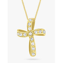 Buy IBB 9ct Gold Twisted Cubic Zirconia Cross Pendant, Gold Online at johnlewis.com