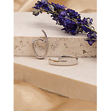Buy IBB 9ct White Gold Polished Huggy Hoop Earrings, White Gold Online at johnlewis.com