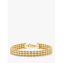 Buy IBB 9ct Gold Hollow 3 Strand Rope Bracelet, Gold Online at johnlewis.com