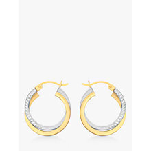 Buy IBB 9ct Gold 2 Tone Diamond-Cut Crossover Creole Earrings, White/Gold Online at johnlewis.com