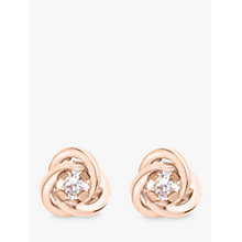Buy IBB 9ct Gold Knot Stud Earrings, Rose Gold Online at johnlewis.com