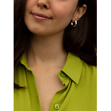 Buy IBB 9ct White Gold Diamond Cut Creole Earrings, White Gold Online at johnlewis.com