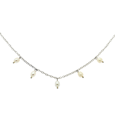 Finesse Freshwater Pearl Drop Chain Necklace, White