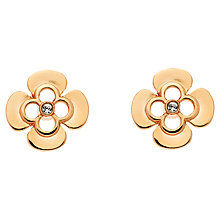 Buy Finesse Rose Gold Plated Swarovski Crystal Flower Stud Earrings, Rose Gold Online at johnlewis.com