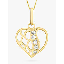 Buy IBB 9ct Gold Cubic Zirconia Open Heart Pendant, Gold Online at johnlewis.com