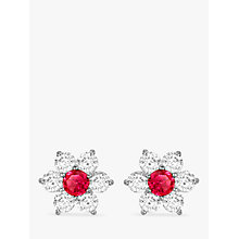Buy IBB 9ct White Gold Flower Cluster Stud Earrings, White/Red Online at johnlewis.com