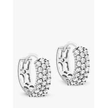 Buy IBB 9ct White Gold 3 Row Cubic Zirconia Hoop Earrings, White Online at johnlewis.com