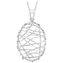 Buy IBB 9ct White Gold Candy Cage Pendant, White Online at johnlewis.com