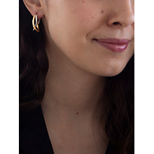 Buy IBB 9ct Gold Two Colour Twined Creole Earrings, White Gold/Gold Online at johnlewis.com