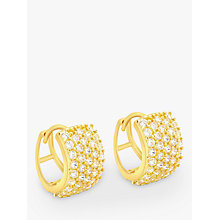 Buy IBB 9ct Gold 5 Row Cubic Zirconia Huggy Earrings, Gold Online at johnlewis.com