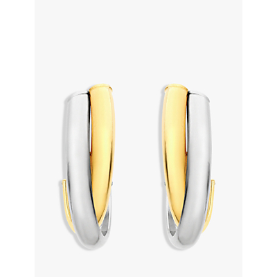 IBB 9ct Gold 2 Tone Crossover Huggy Earrings, White/Gold