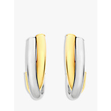 Buy IBB 9ct Gold 2 Tone Crossover Huggy Earrings, White/Gold Online at johnlewis.com