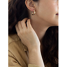 Buy IBB 9ct Yellow Gold Triangle Shaped Creole Earrings, Gold Online at johnlewis.com